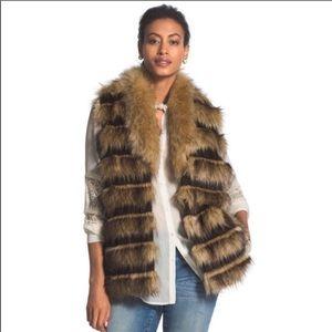 Chico's Vegan Faux Fur Striped Collared Vest XL